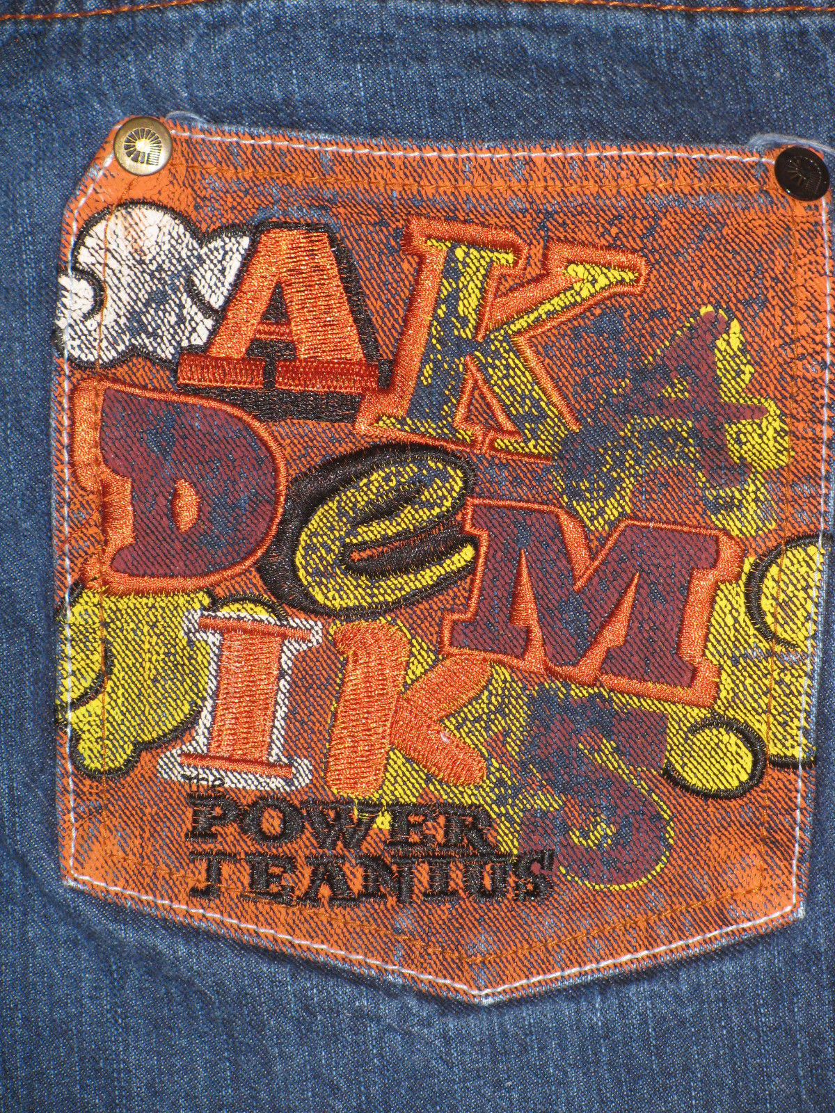 JEANS AKADEMIKS DENIUM JEANS THE POWER OF JEANIUS SIZE12 EMBELLISHED EMBROIRERY  image 5