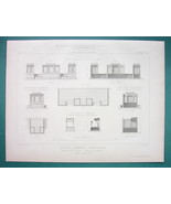 ARCHITECTURE 5 PRINTS 1866: FRANCE Primary School Furniture & Equipment - $20.21