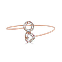 Echt 0.77ct Natürlich Kostüm Pink Diamanten Armreif 18K Solid Gold 5.70G - $3,381.50