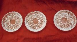 "Three Vintage Mid Century Italian Cut Clear Glass Ashtrays 4"" - $18.49"