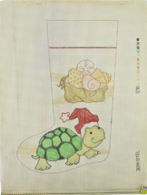 1970's Needlepoint Turtle Wearing Santa Hat Christmas Stocking Hand Pain... - $28.35