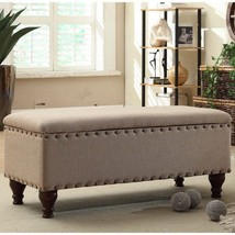Upholstered Storage Bench With Nailhead Trim By... - $125.72