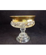 "Vintage Gold rimmed dimpled decorative CANDY Serving DISH 5.5"" tall 5"" d... - $12.90"