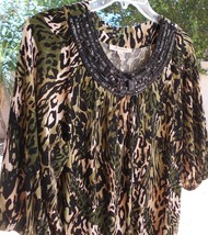 JM Collection Black BEADED ANIMAL PRINT SIZE MEDIUM Short Sleeve Blouse ... - $22.99