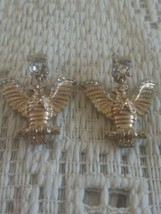 Vintage Rhinestone Stud Dangling Eagle Bird Gold Tone Earrings - $8.00