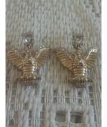 Vintage Rhinestone Stud Dangling Eagle Bird Gold Tone Earrings - $8.00