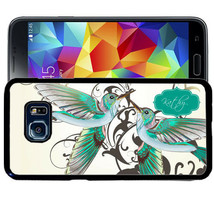 Monogrammed Rubber Case For Samsung S9 S8 S7 S6 S5 Plus White Humming Bird - $13.98