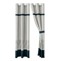 4-Pc Prince Curtain Set Drape Sheer Liner|Fleur-de-lis Floral Damask|Gray Blue - $40.89