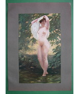 NUDE Young Maiden Hot Summer Bath - COLOR Antique Print - $18.90