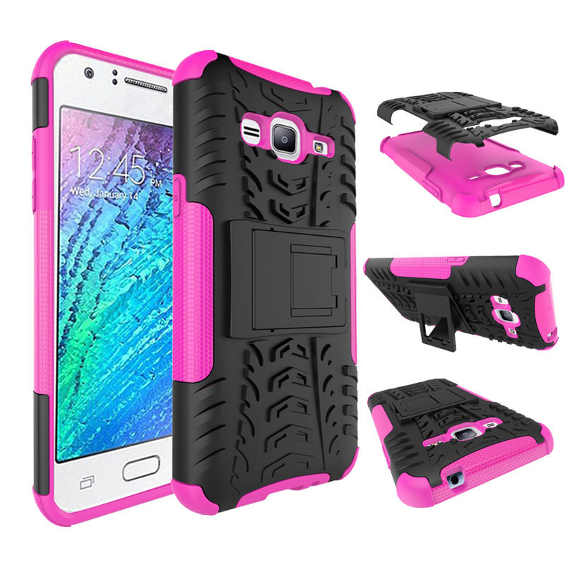 Dual layer hybrid stand cover case for samsung galaxy express prime hot pink p201606260709172670
