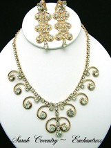 Sarah Coventry Necklace & Earrings Set ENCHANTRESS Gold Tone & Rhinestone, 1970s - $79.95