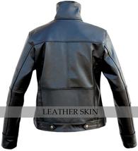 NWT Men Long Collar Black Premium Genuine Real Pure Leather Jacket image 2