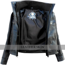 NWT Men Long Collar Black Premium Genuine Real Pure Leather Jacket image 3