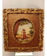 ARTINI Framed Enamel Hand Painted Picture Girl sewing with doll  signed... - $23.12