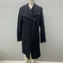 Neiman Marcus Zip Up Jacket Coat Women's L Dark Gray Long Sleeve Collare... - $129.99