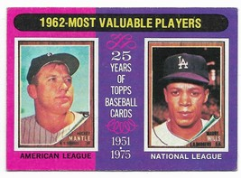 1975 Topps #200 1962 MVP, Mickey Mantle and Maury Wills - $3.60