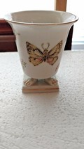 Gorgeous Butterflies Porcelain Vase with Gold Trim  signed on bottom - $14.85