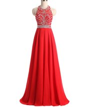 A-line Chiffon Prom Dresses Long Red Evening Formal Homecoming Party Dress 2018 - $134.00