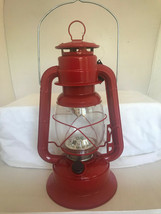 "11"" LED Lighted Metal & Glass Lantern with Handle - Red Colored Finish NEW"