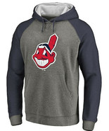Cleveland Indians Ash Chief Wahoo Tri-Blend Pullover Hoodie Official Merchandise - $129.99