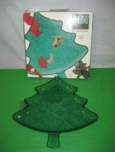 "Holiday Classics Green Christmas Tree 12"" Glass Serving Tray Dish Indiana Glass - $13.98"