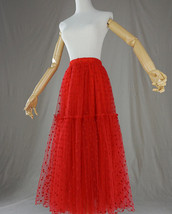 Red Tiered Tulle Skirt Red Polka Dot Tiered Tulle Skirt Red Party Tulle Skirt image 6