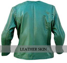 Green Collarless Women Ladies Fashion Sexy Premium Genuine Leather Jacket image 2