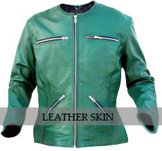 Green Collarless Women Ladies Fashion Sexy Premium Genuine Leather Jacket