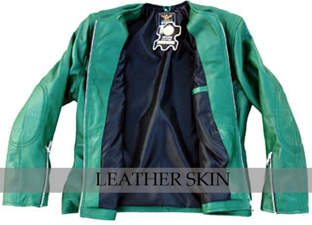 Green Collarless Women Ladies Fashion Sexy Premium Genuine Leather Jacket image 3