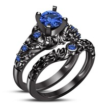 1.72Ct Round-Cut Sapphire Halo Engagement Ring Bridal Set 14K Black Gold... - $116.37