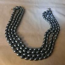 Lovely Vintage 1960s-70s Grey Gray 4 Strand Torsade Necklace Faux Pearls... - $25.00