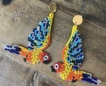 Macaw Parrots Native American Beaded Dangle Seed Bead Earrings New Tropical