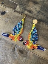 Macaw Parrots Native American Beaded Dangle Seed Bead Earrings New Tropical - £27.47 GBP