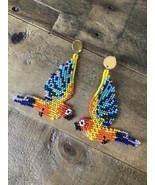 Macaw Parrots Native American Beaded Dangle Seed Bead Earrings New Tropical - £27.10 GBP