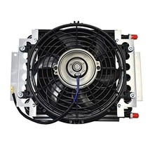 "A-Team Performance 5"" Oil Cooler With 10"" Electric Fan and 3/8"" Fitting 48"" L Ho"