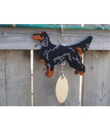 Gordon Setter crate tag or hang anywhere, hand stitched bird dog needlep... - $28.00