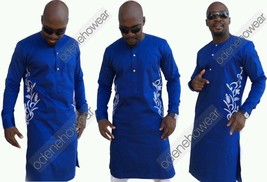 Odeneho Wear Men's Blue Polished Cotton Top/ Embroidery Design. African Clothing - $138.60+