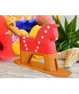 Vintage Carved Horse Whistle Tail Wooden Wood Hand Painted Folk Art - $18.95
