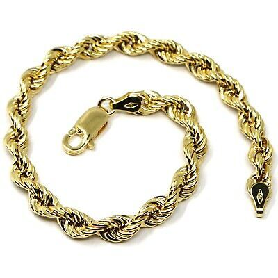 18K YELLOW GOLD BRACELET BIG 5.5mm BRAID ROPE LINK, 8 INCHES LONG, MADE IN ITALY