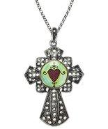 Erzulie Dantor Protection Love Veve Huge Silver Rhinestone Cross Pendant - $19.95