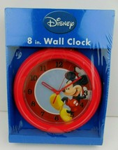 """Disney Mickey Mouse Wall Clock Red Round 8"""" New In Package NIP Disneyana - $24.74"""