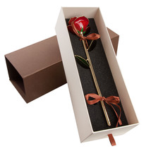 24K Gold Dipped Long Stem Real Rose in Gift Box - Perfect gift for any o... - $59.26