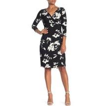 Catherine Malandrino Womens Black White Floral Faux Wrap Dress 3/4 Sleev... - $59.39