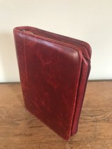 Red Franklin Covey FullGrain Leather Planner Binder Classic 7 rings Patina - $70.11