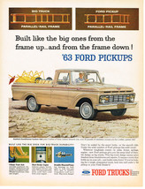 Vintage 1963 Magazine Ad For Ford Trucks Smart Looks Smooth Ride In Soli... - $5.93