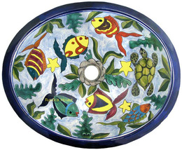 "Mexican Oval Bathroom Sink ""Colorful Fish"" - $172.00"