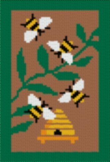 Latch Hook Rug Pattern Chart: HONEY BEES - EMAIL2u