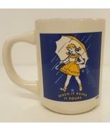 When It Rains It Pours Norton Salt Girl Umbrella Coffee 1956 Mug Cup Dis... - $19.78