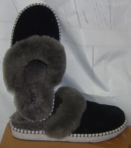 UGG AIRA Black Suede With Sheepskin collar Slippers Size US 6,EU 37 NIB ... - $60.41