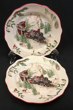 """2 Better Homes & Gardens Heritage Collection Christmas Train 8-3/4"""" Plates - $21.99"""